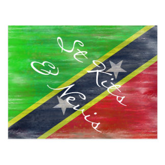 Saint Kitts & Nevis distressed flag Postcard