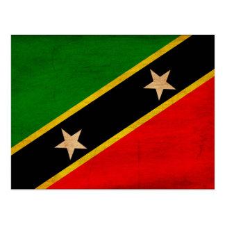 Saint Kitts Nevis Flag Postcard