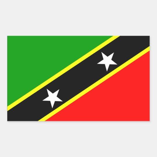 Saint Kitts Nevis Flag Rectangular Sticker