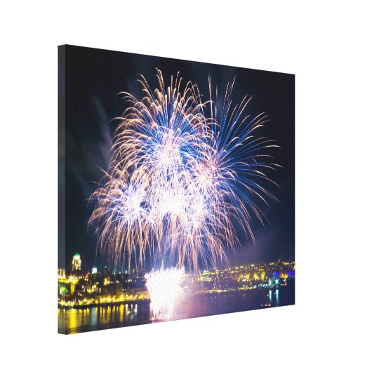 Saint-Lawrence River | Bright Fireworks Canvas Print