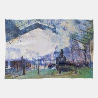 Saint-Lazare Station, Normandy Train, Claude Monet Tea Towel
