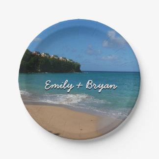 Saint Lucia Beach Tropical Vacation Landscape Paper Plate
