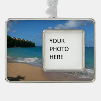 Saint Lucia Beach Tropical Vacation Landscape Silver Plated Framed Ornament