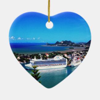 Saint Lucia, cruise ship Ceramic Heart Decoration