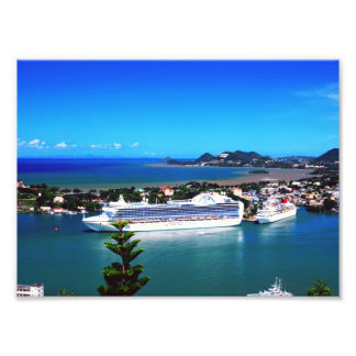 Saint Lucia, cruise ship Photo Print