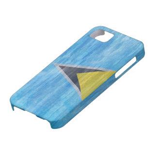 Saint Lucia distressed flag iPhone 5 Cases