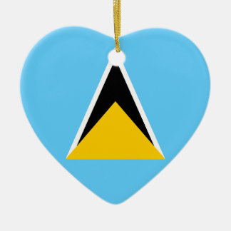 Saint Lucia Flag Heart Ceramic Heart Decoration