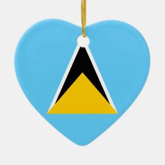 Saint Lucia Flag Heart Christmas Ornament