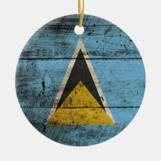 Saint Lucia Flag on Old Wood Grain Christmas Ornament