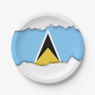 Saint Lucia Flag Paper Plate