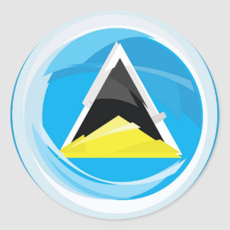 Saint Lucia Flag Round Sticker