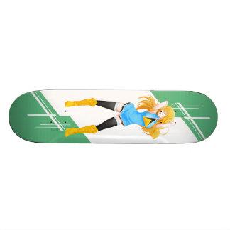 Saint Lucia Manga girl dressed in Flag Skate Boards