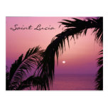 Saint Lucia Purple Paradise Sunset Postcard