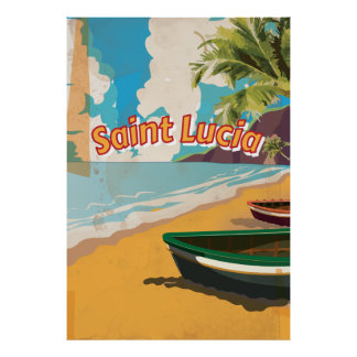 Saint Lucia Vintage vacation Poster
