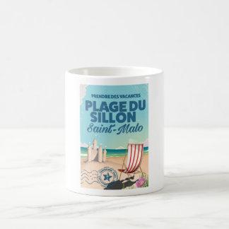 Saint-Malo, France travel poster Basic White Mug