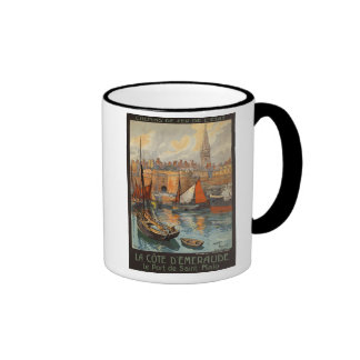 Saint Malo France - Vintage French Travel Poster Ringer Coffee Mug