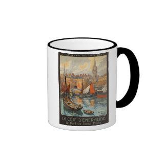 Saint Malo France - Vintage French Travel Poster Ringer Mug