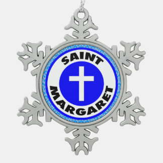 Saint Margaret Snowflake Pewter Christmas Ornament