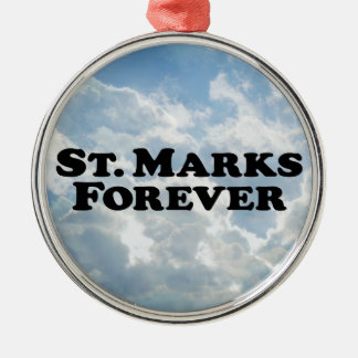 Saint Marks Forever Round Metal Christmas Ornament