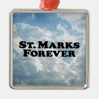 Saint Marks Forever Square Metal Christmas Ornament