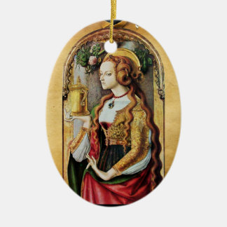 SAINT MARY MAGDALENE , Parchment Ceramic Oval Decoration