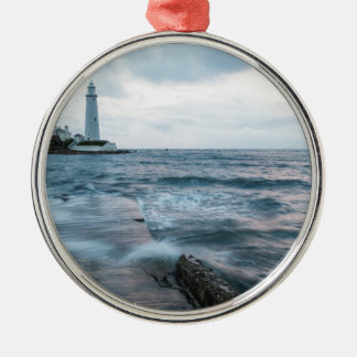 Saint Mary's Lighthouse at Whitley Bay Silver-Colored Round Decoration