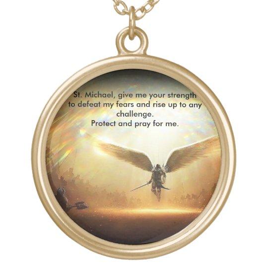 Saint Michael Archangel of God Gold Plated Necklace