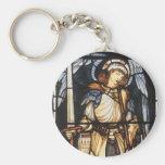 Saint Michael by Burne Jones, Vintage Archangel Basic Round Button Key Ring