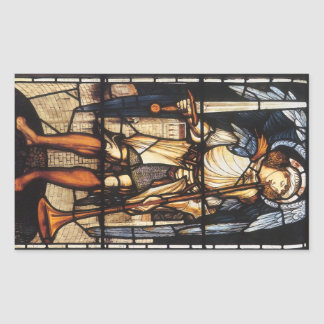 Saint Michael by Burne Jones, Vintage Archangel Rectangular Sticker