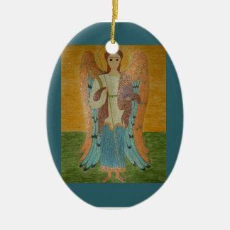Saint Michael Double-Sided Oval Ceramic Christmas Ornament