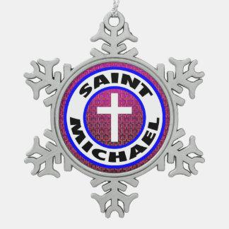 Saint Michael Pewter Snowflake Decoration