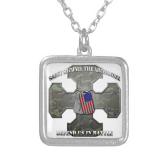 Saint Michael the Archangel Silver Plated Necklace