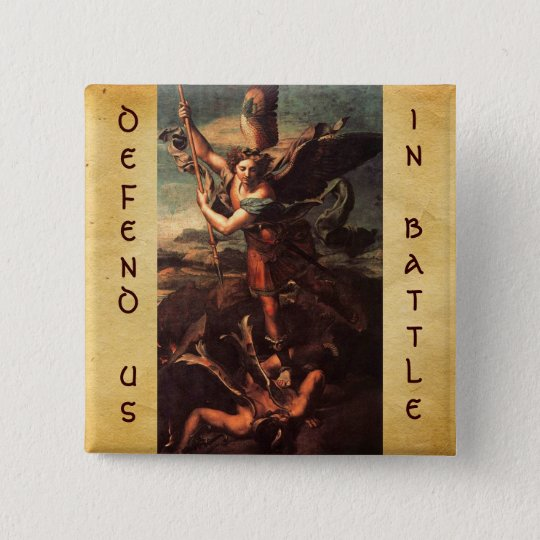 SAINT MICHAEL VANGUISHING SATAN 15 CM SQUARE BADGE