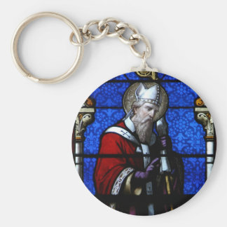 Saint Nicholas Blessings Stained Glass Basic Round Button Key Ring