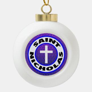 Saint Nicholas Ceramic Ball Christmas Ornament