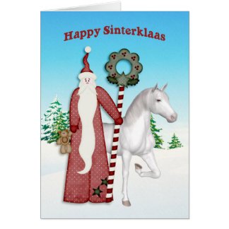 Saint Nicholas, Horse, Happy Sinterklaas Greeting Card