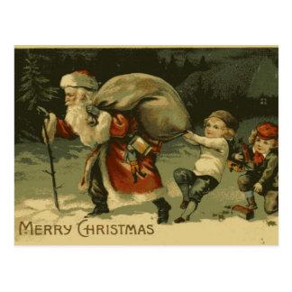Saint Nick and children Vintage Christmas Postcard