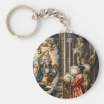 Saint Painting Madonna And Jesus Basic Round Button Key Ring