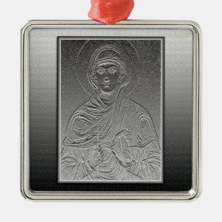 Saint Paraskeva [Sveta Petka] Silver-Colored Square Decoration