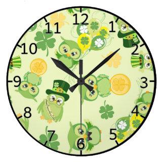 Saint Partrick's Day Shamrocks Large Clock