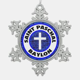 Saint Paschal Baylon Snowflake Pewter Christmas Ornament
