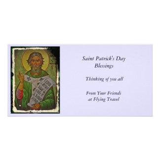 Saint Patrick Icon on Green Custom Photo Card