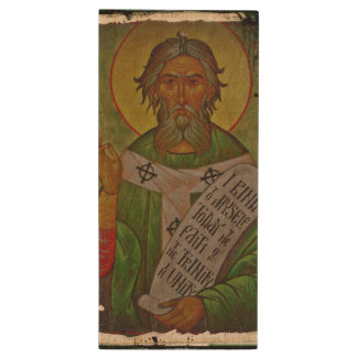 Saint Patrick Icon on Green Wood USB 2.0 Flash Drive