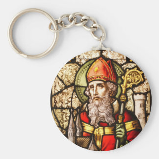 Saint Patrick Image on Stained Glass Key Chains