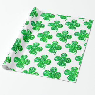 Saint Patrick Irish Glitter Clover Leaf Pattern Wrapping Paper