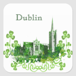 Saint Patrick s Cathedral in Dublin Square Stickers