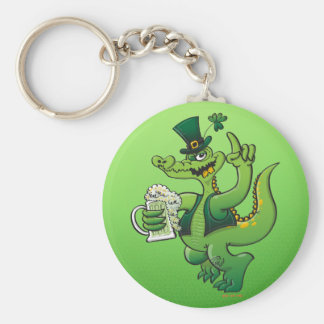 Saint Patrick s Day Crocodile Drinking Beer Keychains