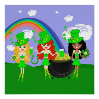 Saint Patrick's Day Girl Leprechauns Poster