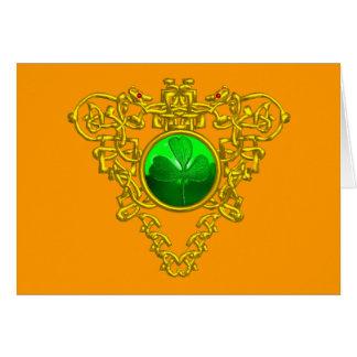 SAINT PATRICK'S CELTIC HEART,orange Greeting Card