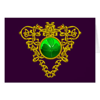 SAINT PATRICK'S CELTIC HEART,purple,orange Greeting Card